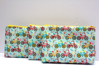 Bicycle zip pouches, cosmetic bag, makeup bag