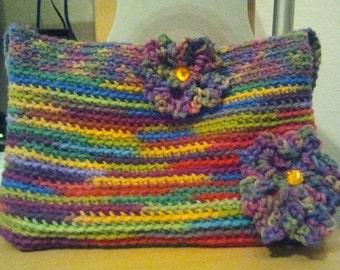 Multi colored crochet purse