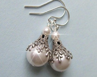 Vintage Style Bridal Pearl Earrings, White or Ivory Pearl Drop Earrings For the Bride, Bridesmaids, Sterling Silver Wedding Jewelry Weddings