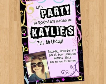Rockstar Girl Birthday Invitation Printable