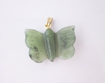 Jade carved butterfly pendant