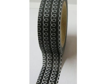 "SALE Washi Tape ""Curly"" In Black   10 Meters"