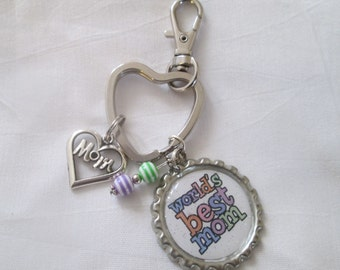 Mother's Day Keychain MOM Bottlecap Keychain  World's Best Mom Keychain