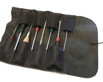 Leather Tool Roll Leather Tool Bag Bike Tool Roll Tool Case Leather Pencil Case Paint Brush Case Hand Stitched Hand Stitched Black Color