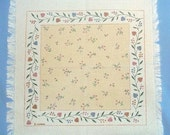 4 Vintage 1970's Stamped Napkins with Country Hearts and Vines Design on Homespun by Forman