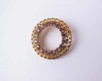 Vintage Gold and Purple Rhinestone Brooch