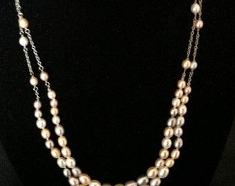 Vintage Sterling Silver Genuine Double Strand Multi Colored Pearl Necklace. (Hand Knotted)