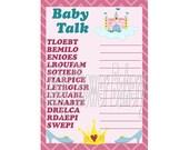 Princess Theme Baby Shower Game, Printable Princess Baby Shower Game, Baby Princess Shower Game, Baby Girl Shower Game Word Scramble