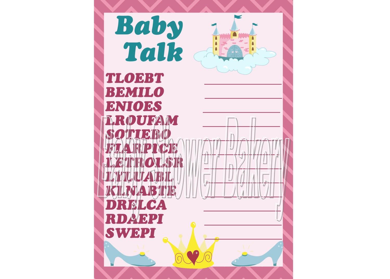 princess theme baby shower game printable princess baby