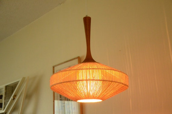 Large fog morup teak and jute rope mid century modern for Mid century modern hanging lamp