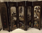 VINTAGE Chinese Giant PANDA Folding Screen / 6 Sections    CLEARANCE