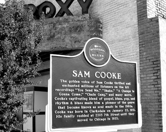 Sam Cooke Marker, Blues Music Trail, Black and White Photography, Fine Art Photography, Clarksdale, MS