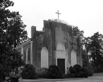 LaGrange Church, Black and White Photograph, Fine Art Photography, Civil War Battlefield, Historical Photography