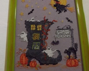 Witch way vacancy - handmade counted point embroidery