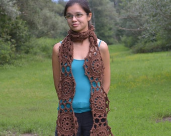 Flower brown shawl scarf crochet handmade