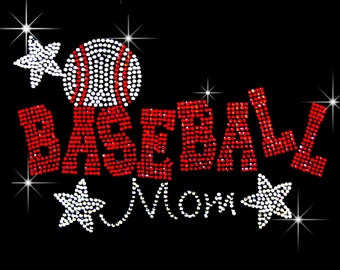 baseball mom with stars rhinestone iron on transfer hotfix bling DIY- 7 by 5 inches