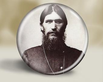 Grigori Rasputin Russian mystic faith healer  - pin button, magnet, mirror, or bottle opener 2.25 round circle - Your choice