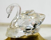 Swarovski Crystal Swan Figurine, Vintage Collectible Glass