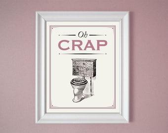 Art nouveau purple bathroom sign toilet poster wall print for 9x12 bathroom designs