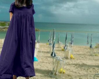 Boho Dress Maxi Dress Cotton Dress Long Cotton Dress/ Loose Fitting Shirt Dress in Black/ Long Sleeve Dress/ Custom made/ Many Colors