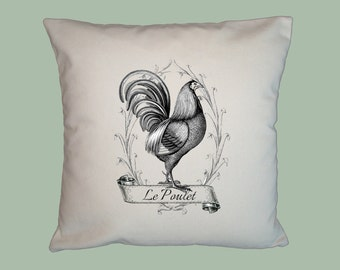 Le Poulet Vintage French Rooster Chicken Collage Handmade 16x16 Pillow Cover - Choice of Fabric - image in ANY COLOR