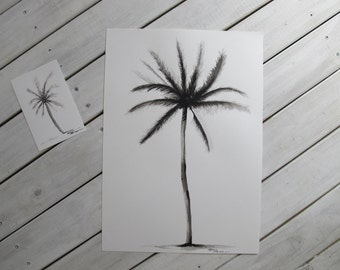 ONE PALM - Original Watercolor Painting A3