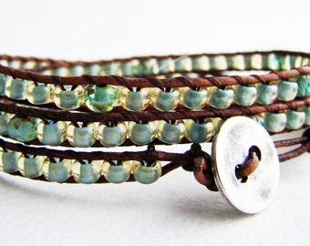 Wrap bracelet with sea foam seed beads and green crystal rondelle picasso faceted beads