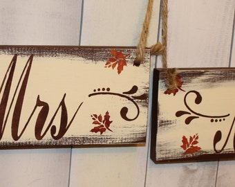 MR - MRS Wedding Chair Signs/Photo Prop/Xtra Fancy/Fall Leaves/Great Shower Gift/Brown/Autumn/Fall Wedding