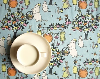 Tablecloth Moomin Character blue white orange Harvest party Scandinavian Design , runner , napkins , pillow , curtains available, great GIFT