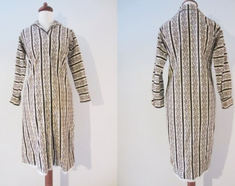 60s Tapestry Corduroy Long Sleeve Shirtdress by Miss Serbin, XS-S // Vintage Floral Winter Button Front Robe Dress