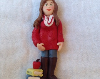 Single Person Custom Polymer Clay Christmas Ornament, Figurine.  A Hand Crafted Art Sculpture.