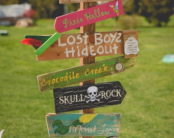 Customized Directional Sign Wooden Mile Marker Peter Pan Neverland for a Nursery/Kid's Room