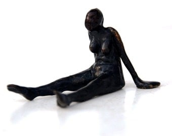 Bronze scupture sitting figure #2