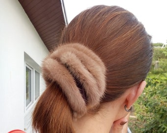 Mink fur scrunchies largest with vleo in black or dark brown