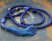 Beautiful unique lapis lazuli Mala necklace