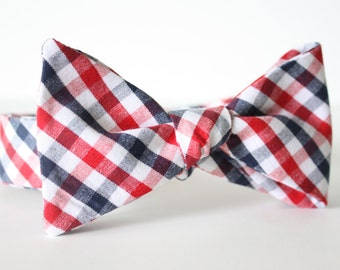 Red White and Blue Checkered Bow Tie Handmade in California/Mens Bow Ties/Father's Day/Gifts For Men/Gifts For Him/Bowties for Men