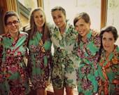 Bridesmaid robes, kimono crossover, bridesmaids gift, handmade, floral, bridal shower, wedding plus size vintage floral