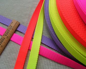 5 yards of 3/4 Inch 100% nylon webbing, gorgeous colors of neon pink, neon orange, neon yellow and lavender.