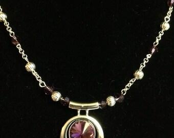 Handmade Swarovski Amethyst Necklace