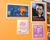 Monster Mash, It Was a Graveyard Smash ... Unused Vintage Postage Stamps ... Enough to Mail 5 letters