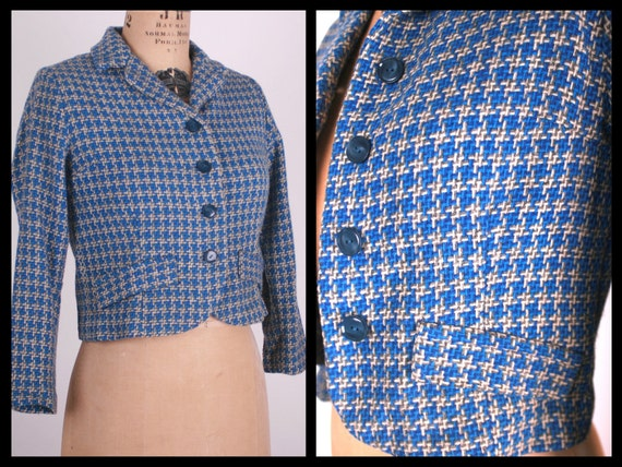 RESERVED Vintage Knit Blazer // 60s fitted jacket // Cropped