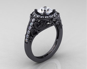 Italian 14K Matte Black Gold 1.0 Ct White Sapphire Diamond Engagement Ring Wedding Ring R280-14KMBGDWS