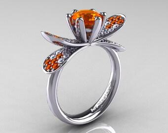 14K White Gold 1.0 Ct Orange Sapphire Diamond Nature Inspired Engagement Ring Wedding Ring R671-14KWGDOS