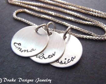 Sterling silver mother necklace hand stamped personalized necklace gift  for mom