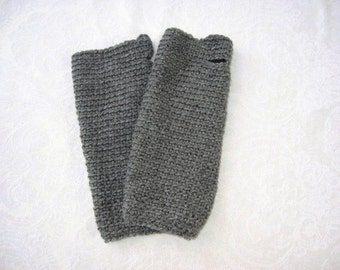 Gray Wristers Fingerless Gloves / Men / Women / Crochet Gloves / men's gloves / teen gloves