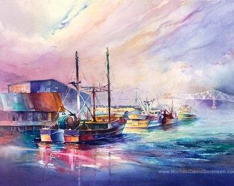 Fishing Boat Watercolor Painting Print by Michael David Sorensen. Astoria, Oregon. Docks. Waterfront. Columbia River. Pacific Northwest.