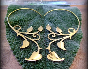 Ivy Vine Earrings in Gold Brass ~ Tribal Style like Fake Gauges ~ Fit Standard Un-Stretched Piercing ~ Elven Fairy Earthy Art Nouveau Garden