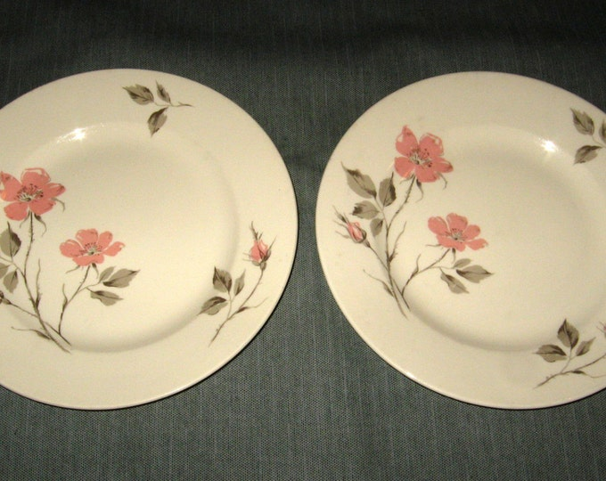 Two 1950s Edwin Knowles DAWN ROSE Dinner Plates, Pink & Gray