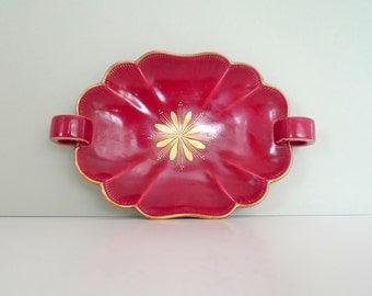 Upsala Ekeby Plate - Vintage Swedish Rubin Serving Dish 1960s Mid Century Modern