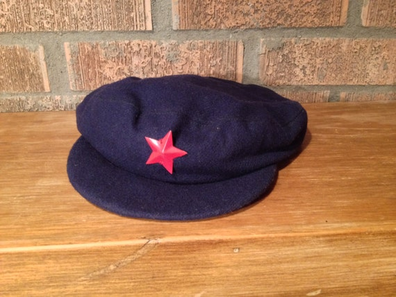 vintage chinese military mao cap red star visor by